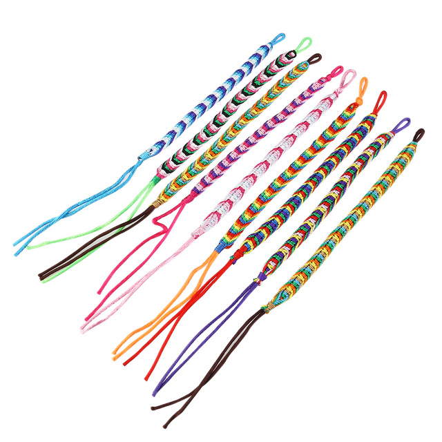 9pcs Handmade Colorful Braided Bracelets Thread Wrist Ankle Random Color
