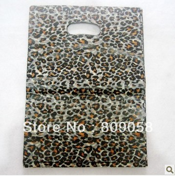 25*35cm Leopard Print Design Plastic Shopping Packing Bags,Thick Boutique Clothes Gift Bags, 50pcs/lot Free Shipping
