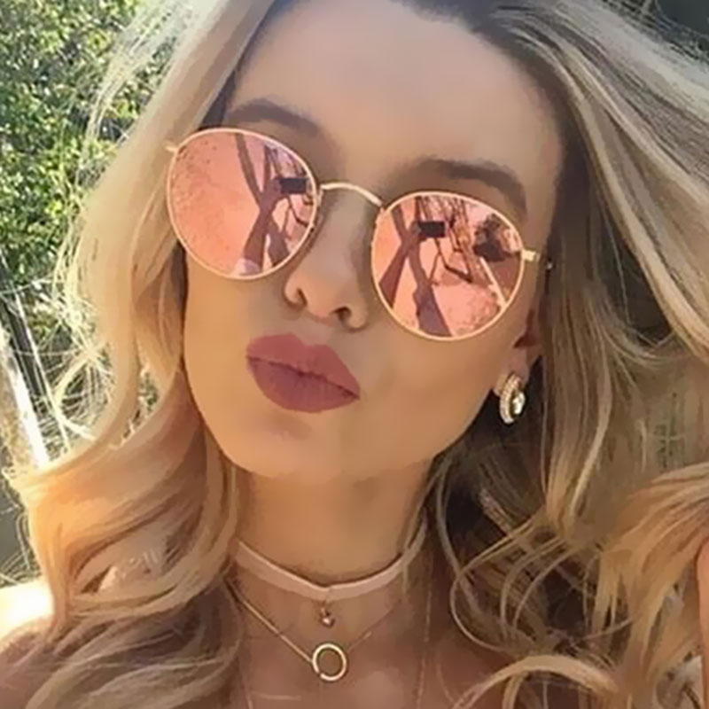 Round Sunglasses Women Retro Brand Designer Classic Rose Gold Steampunk Sun Glasses Men UV400 Rayed Mirror Female UV400