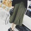 Women Knitted Skirt Army Green Cable Knit Winter Skirts High Waist New 2017 Ladies Mid Calf Skirt Elastic Waist Free Shipping