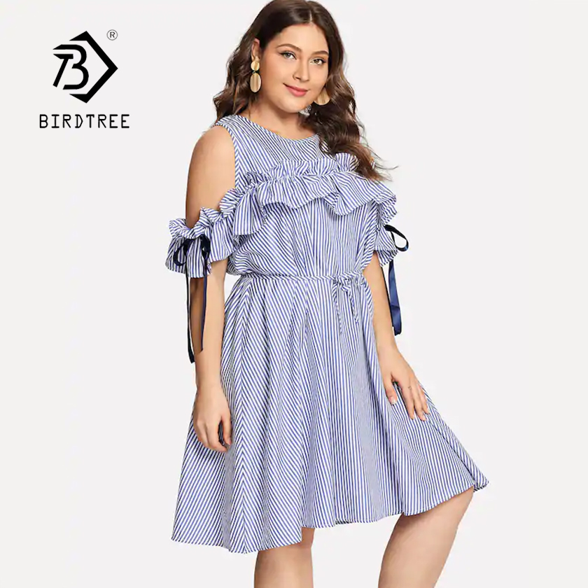 US $12.47 30% OFF|2019 Summer New Women\'s Plus Size Striped Dress O Neck  Cold Shoulder Lace Up Bow Ruffles Sleeve 4XL Vestidos Female Modis Wear-in  ...