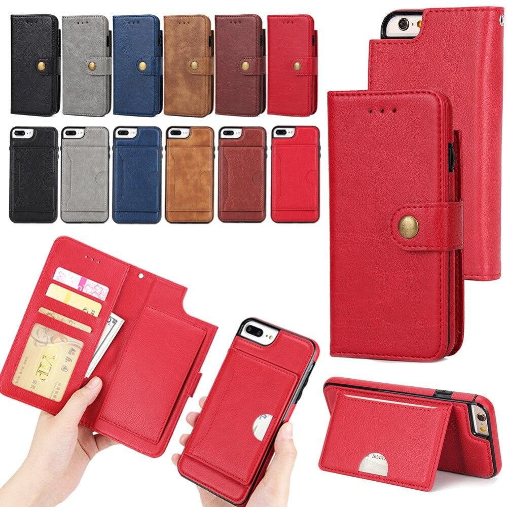 Флип Бумажник Стенд кожаный чехол для Apple Iphone 6/6 S плюс случай мобильного телефона прочного искусственная кожа + жесткий ТПУ съемная 2-в-1 держ...