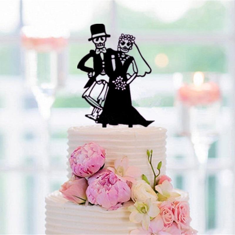 Halloween Wedding Cake Topper Bride and Groom Silhouette Cake ...