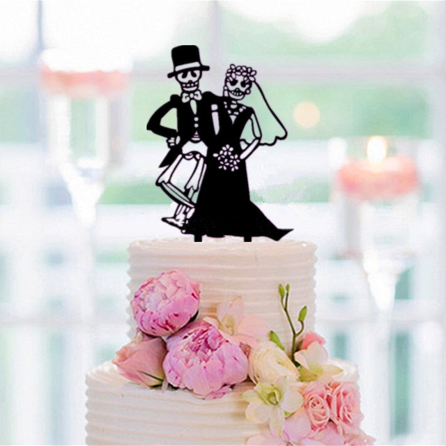 Halloween Wedding Cake Topper Bride and Groom Silhouette Cake ...