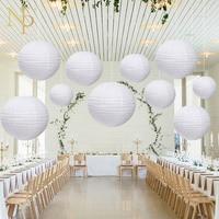 Nicro 10 Stks/set Wit Ronde Lantaarns Lamp DIY Wedding & Engagement Chinese Klassieke Papier Lantaarn Ambachten Decoratie