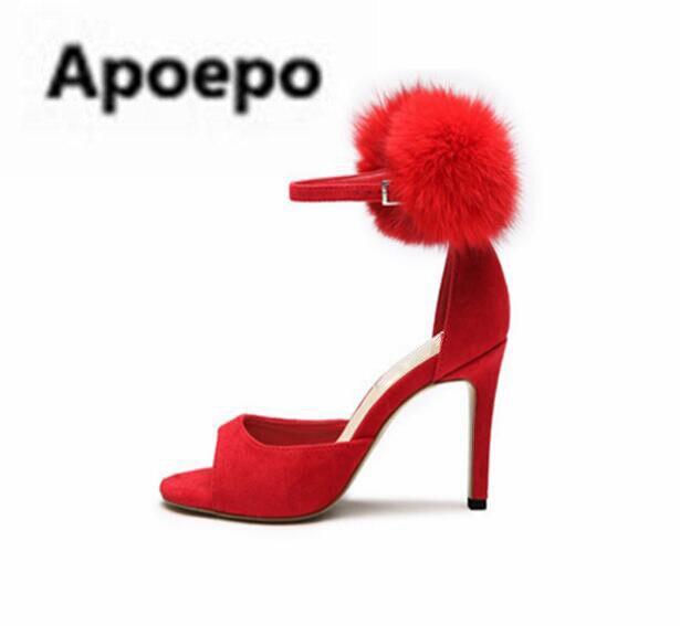Apoepo sweet girls sandals summer fur decor brand women sandals peep toe high heels sandals black red suede ladies shoes 2018 apoepo brand black luxury diamond sandals women sexy pointed toe string bead ladies shoes summer high heels sandals shoes 2018