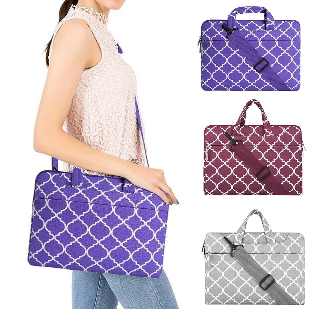 Men Women Carrying Business Rectangle Briefcase Storage Travel Handbags Gift Shoulder Bag Cover Canvas Geometric Pattern Laptop