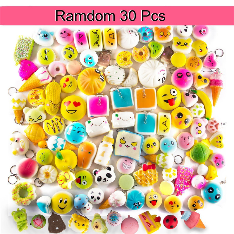 Squeeze Toys Squishies Slow Rising 10Pcs\20Pcs\30Pcs Medium Mini Soft Squishy Bread Toys Key Cell Phone Pendant Strap