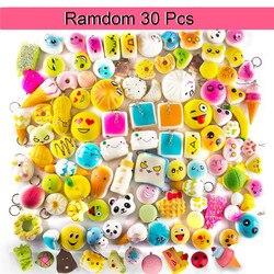 Squeeze brinquedos squishies lento subindo 10pcs \ 20pcs \ 30 pçs médio mini macio mole pão brinquedos chave telefone celular pingente cinta