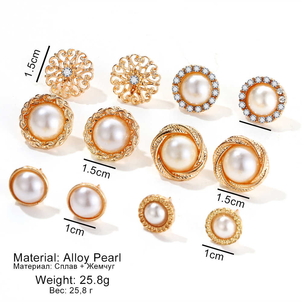2fb55b881a5 FAMSHIN 6 Pairs/Set Gold Color Flower Hollow Stud Earring Vintage Crystal  Simulated Pearl Earrings Set For Women Wedding Jewelry