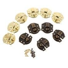 10 шт., антикварная золотая коробка, засов, железный замок, защелки для ювелирных изделий, нагрудная коробка, застежка для чемодана, застежка, винтажная фурнитура, 27*29 мм