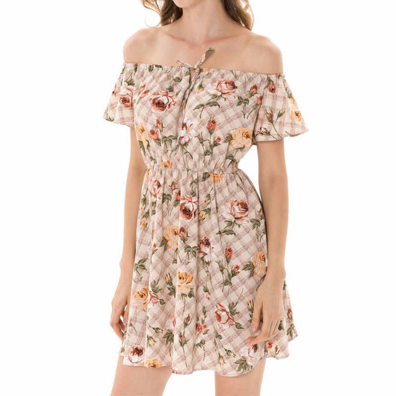 Летнее женское платье с цветочным принтом, сексуальное мини-платье в стиле бохо, модное платье в клетку, женские пуловеры, пляжные платья для женщин