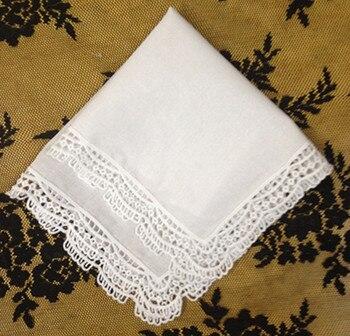 Mouchoirs de mariage en coton blanc | À la mode pour femmes 12 pièces/lot de 12 x12 mouchoirs de mariage brodés Hankies en dentelle pour Occasions spéciales