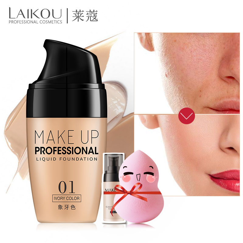 laikou Face Makeup Base Liquid Foundation Concealer Whitening Primer Easy to Wear Soft Carrying BB Cream Waterproof Lasting maxfasfer base makeup foundation liquid primer moisturizer waterproof whitening concealer brighten matte long lasting cosmetic