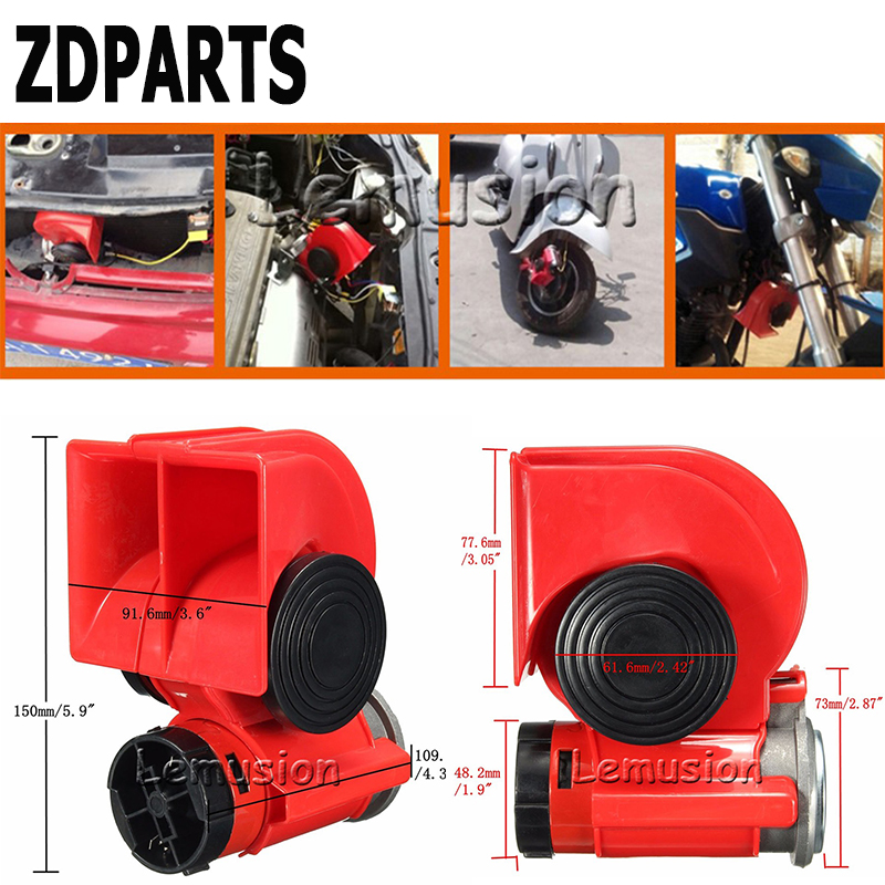 ZDPARTS For Hyundai Solaris Suzuki Grand Vitara Swift Alfa Romeo Acura Renault Car Automobiles 12V130db Two-Tone Snail Air Horn farcar s170 hyundai solaris 2017 l766