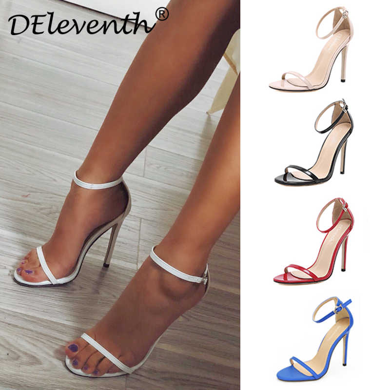 ebbf0c02e DEleventh Classics Sexy Women Red Wedding Shoes Peep Toe Stiletto High  Heels Shoes Woman Sandals Black