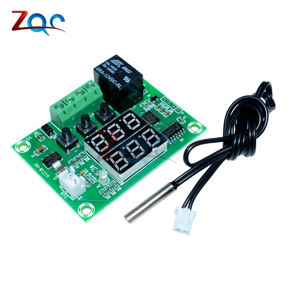 Xh W1219 Dc 12v Dual Led Digital Display Thermostat Temperature Light Wiring Harness With Relay And Weatherproof Switch 1 X Dc12v Module Cycle