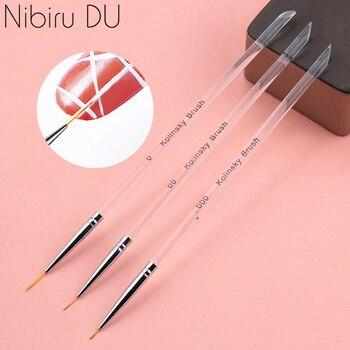 3Pcs/set Kolinsky Gel Nail Art Line Painting Brushes Crystal Acrylic Thin Liner Drawing Pen Nail Art Manicure Tools Set 1