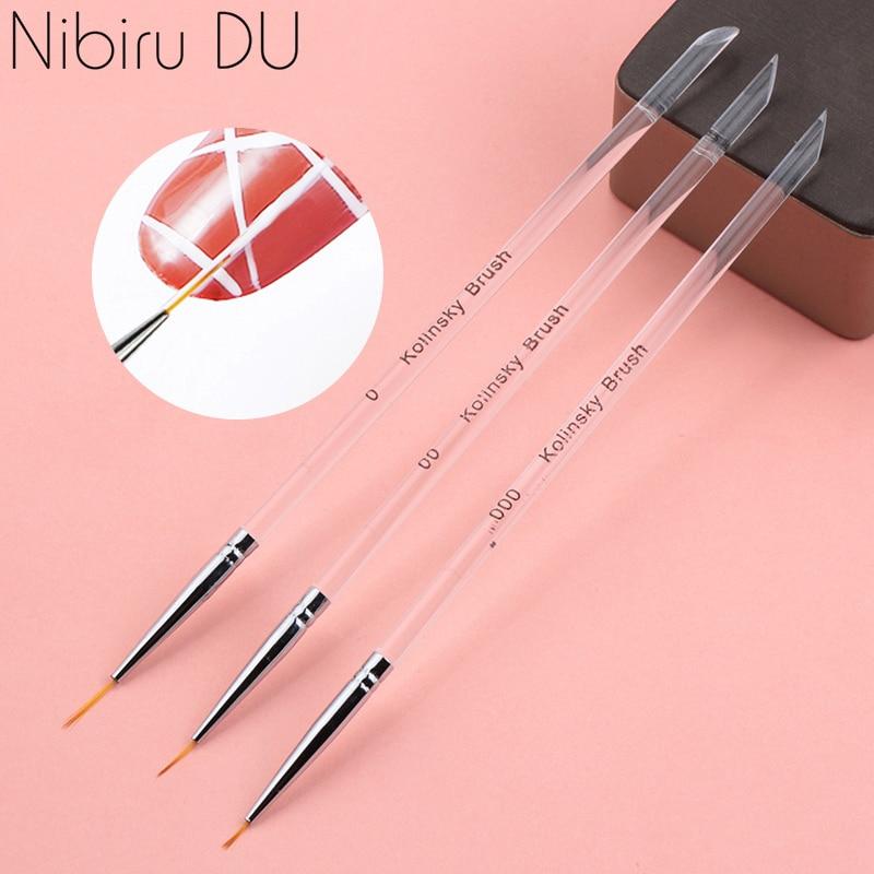 3Pcs/set Kolinsky Gel Nail Art Line Painting Brushes Crystal Acrylic Thin Liner Drawing Pen Nail Art Manicure Tools Set