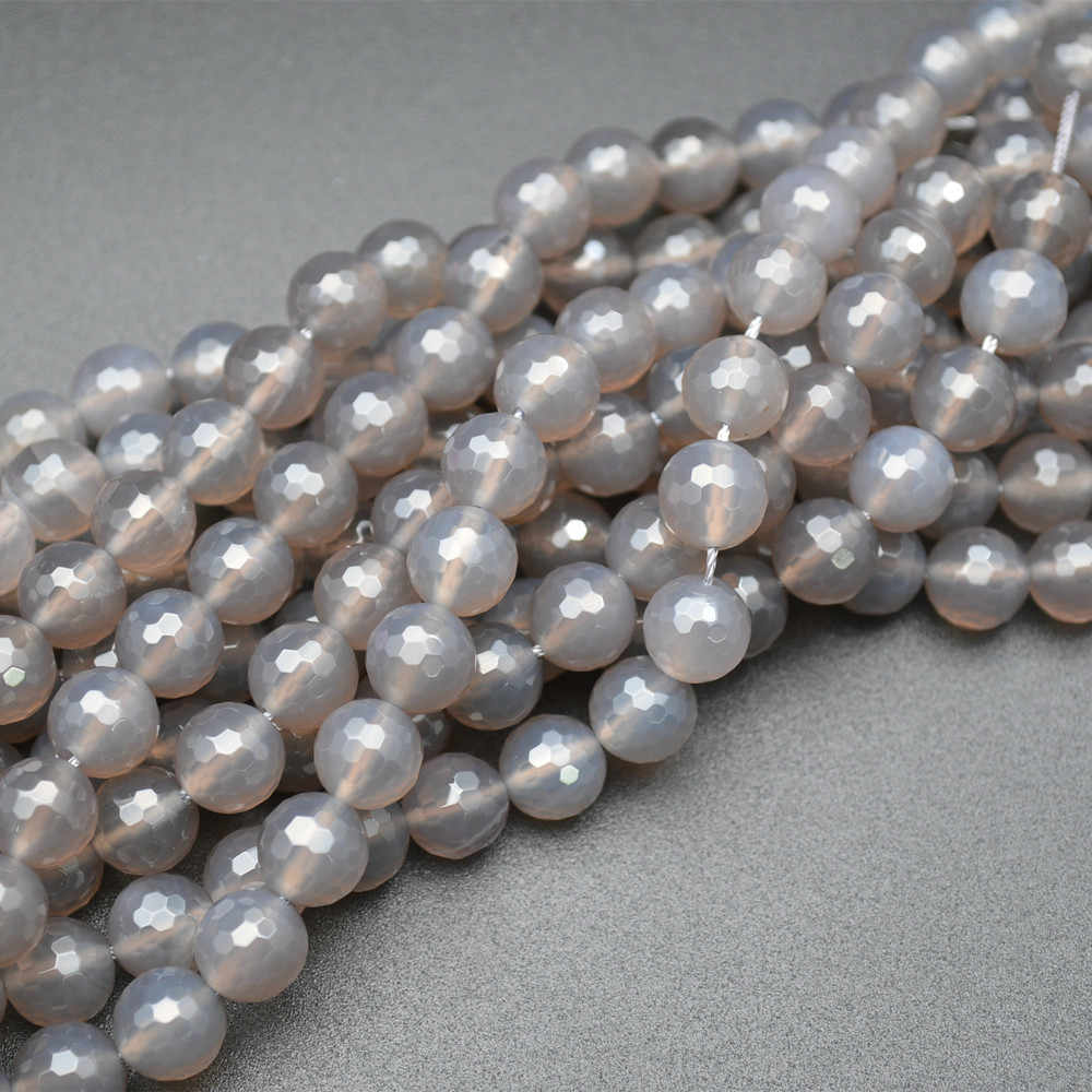 """Grade A Natural Grey Agate Gemstone Round Beads 4mm 6mm 8mm 10mm 16/"""" strand"""