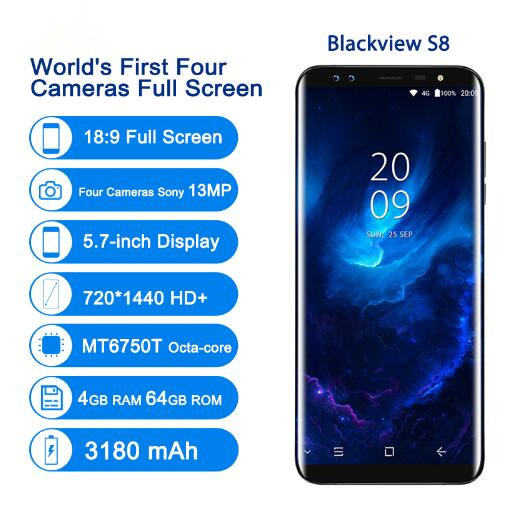"Blackview S8 4G Smartphone 4 Cameras 4GB+64GB MT6750T Octa Core Fingerprint 5.7""18:9 Aspect Ratio Infinity Screen Mobile Phone