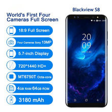Blackview s8 4g smartphone 4 câmeras 4gb + 64gb mt6750t octa núcleo impressão digital 5.7