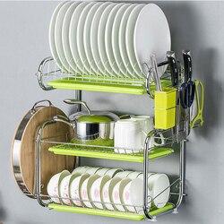 3 camada de parede-pendurado prato escorredor prateleiras da cozinha rack para secar pratos organizador para cozinha suprimentos de cozinha secador para talheres