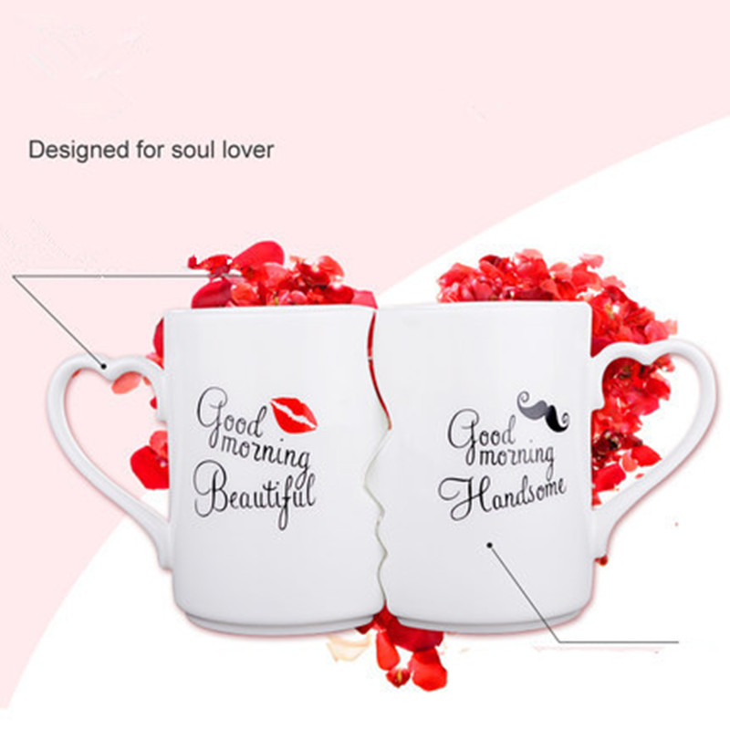 Nordic style Creative Coffee Cup 2 Pieces / Set Couple Cup Ceramic Kiss Cup Valentine's Day Wedding Birthday Gift Trend Fashion