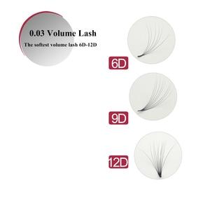 Image 5 - 10 przypadków 0.03mm wszystkie rozmiar długości prawdziwe 0.03 grubość bardziej miękkie niż 0.05 fałszywe przedłużanie rzęs dla 3D 12D rosyjski objętość mocowania