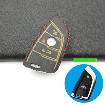 2 Button 100% Leather Car Remote Key Fob Shell Cover Case For BMW X1 X5 F15 X6 F16 1 2 5 7 Series 2016 2017 2018 Skin Holder image