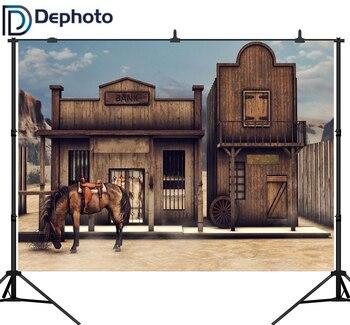 DePhoto Old US Wild Western Scenery Horse Bank Cowboy Saloon Children Photography Background vinyl Backdrop Photo Studio - discount item  44% OFF Camera & Photo