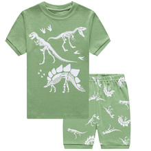 Summer Baby Kids Pajamas Boys Dinosaur 2pcs Clothes Set Home Wear Sleepwear Suit