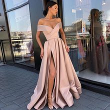 Blush Pink Off Shoulder Prom Dresses Boat Neck Front Split Vestido Formatura Lon