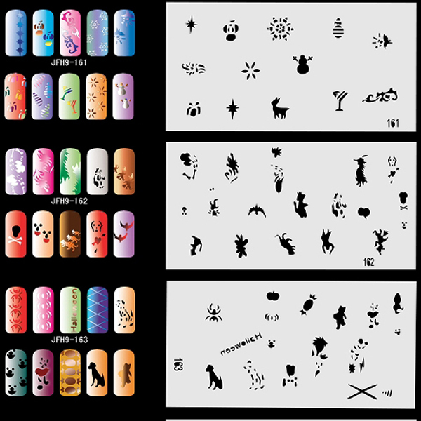 20pcs Airbrush Nail Stencil Sheets with 300 Designs Art Paint Pages Set No.9 - Halloween, Christmas, etc  цены