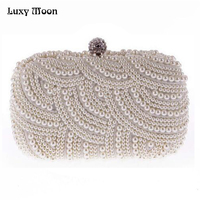 100 Hand Made Luxury Pearl Clutch Bags Women Purse Diamond Chain White Evening Bags For Party
