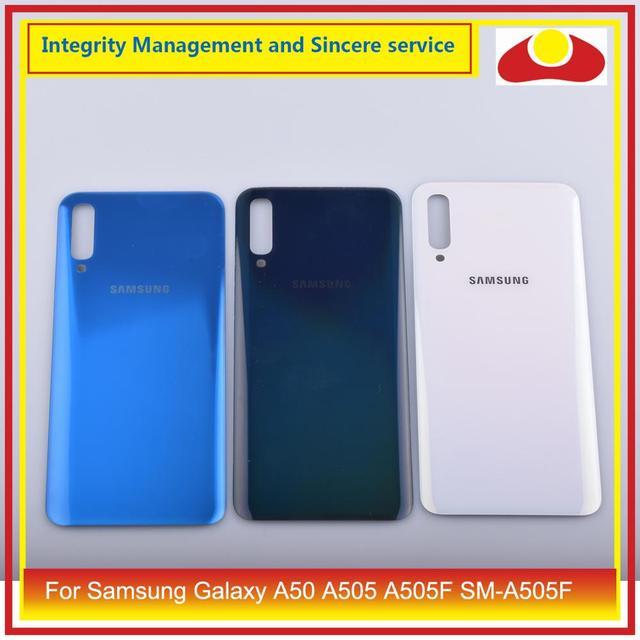 10 pçs/lote para samsung galaxy a50 a505 a505f SM A505F habitação porta da bateria traseira caso capa de vidro chassis escudo a50 2019