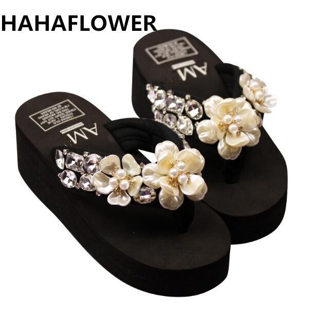 HAHAFLOWER perles fleurs femmes chaussons compensés été femmes diamants pantoufles été 2018 plage pantoufle été fête chaussures