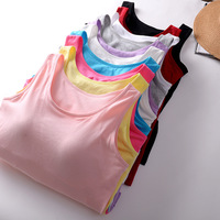 Fashion Casual Spring Summer Autumn Women Basic Cotton Sleeveless Tank Tops Candy Color Bra Wireless Vest