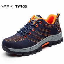 men fashion large size breathable mesh steel toe caps work safety summer shoes non-slip platform anti-puncture tooling boots