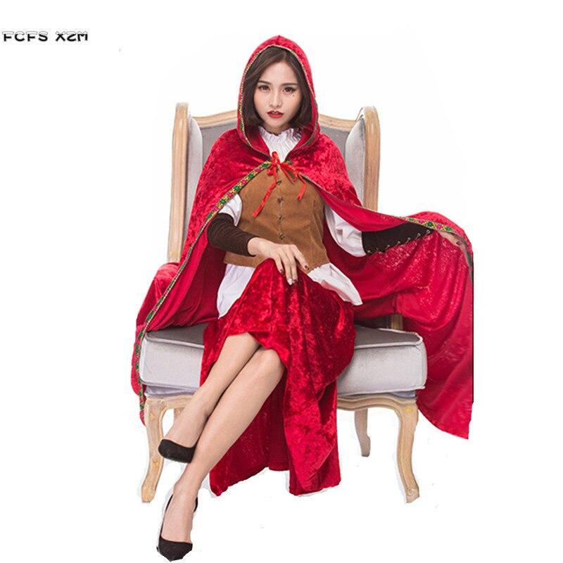 Новинка, модель высокого качества Для женщин Хэллоуин Красная Шапочка костюмы женские Рождество cosplays карнавал Пурим партии этапа платье дл...
