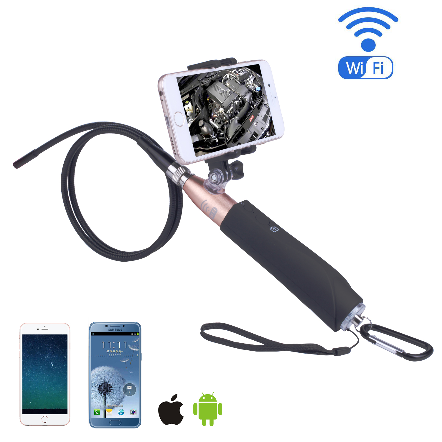 HD 720P Wireless WIFI Endoscope 2.0 Mega Pixels Inspection Snake Camera 1M/3M Cable 8mm 6 LED Borescope for Android Iphone Spy image