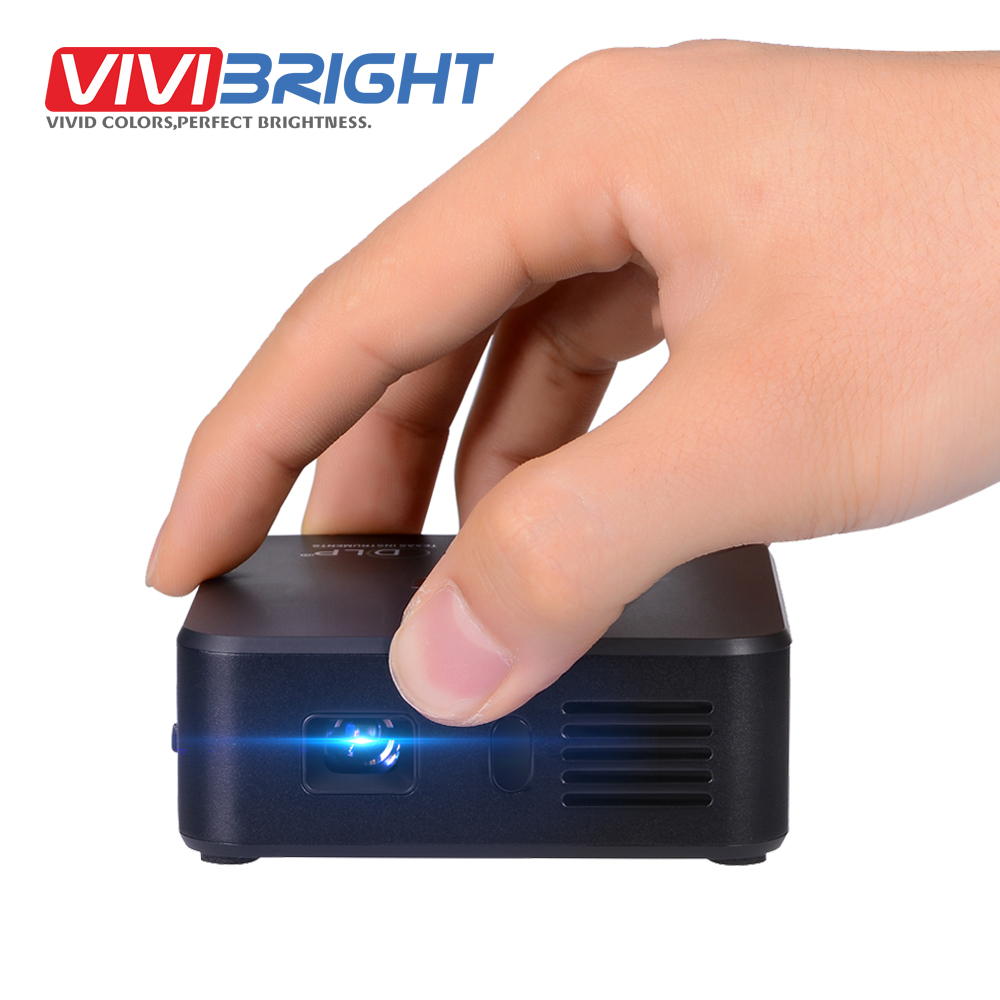 VIVIBRIGHT 120 ANSI Lumens Set in Android WIFI Bluetooth DLP Mini Projector led with 3000mAH Battery for home theater HT3 aun projector 3200 lumen t90 1280 768 optional android projector with 2 4g air mouse bluetooth wifi support kodi ac3 led tv