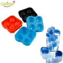 Delidge 1 pc 4 Holes Round Ball Ice Mold Hot Whiskey Cocktail Silicone  Bar Drink Whiskey Sphere Mould DIY Ice Cube Tray Maker