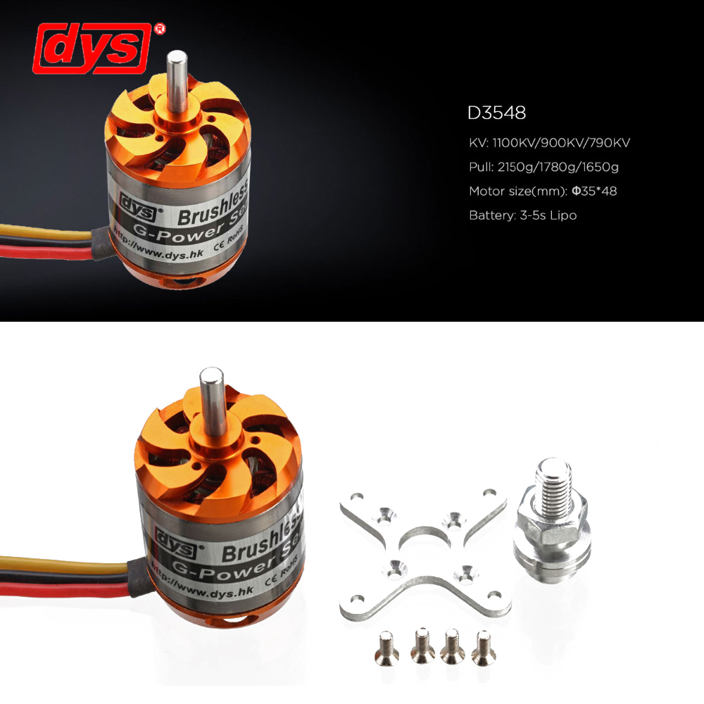 DYS D3548 3548 790KV 900KV 1100KV Brushless Motor 3-5S For Mini Multicopters RC Plane HelicopterDYS D3548 3548 790KV 900KV 1100KV Brushless Motor 3-5S For Mini Multicopters RC Plane Helicopter