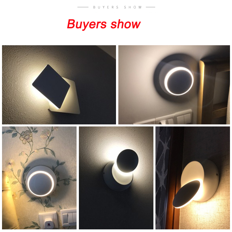 LED Wall Lamp 360 degree rotation adjustable bedside light White and Black creative wall lamp Black modern aisle round lamp
