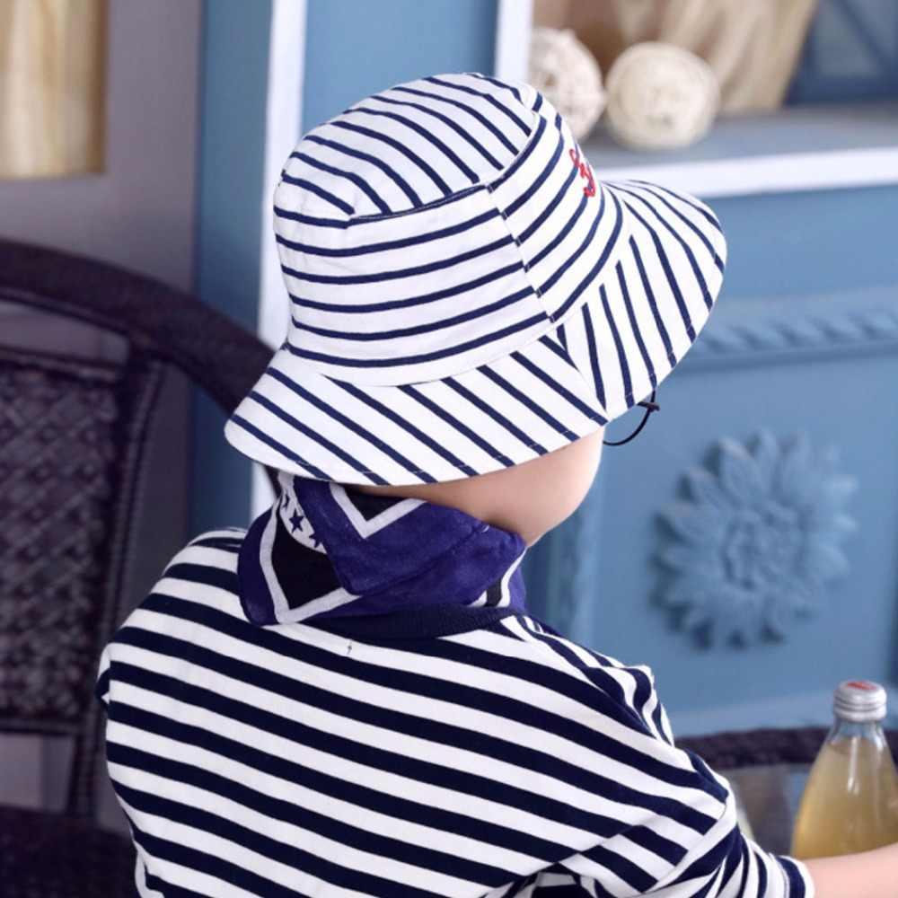 fde25231 ... Baby Boy's Stripes Bucket Fisherman Hats Children Outdoor Beach Sun Cap  Summer Newborns Kid Broad Brim