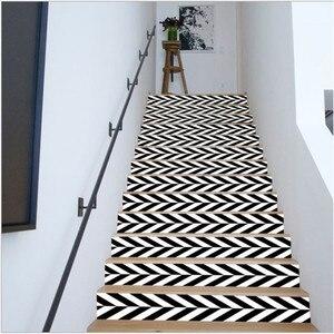 Image 5 - 6PCS 이동식 계단 스티커 단계 자체 접착 세라믹 타일 PVC 계단 벽지 데칼 비닐 계단 홈 인테리어 18x100CM