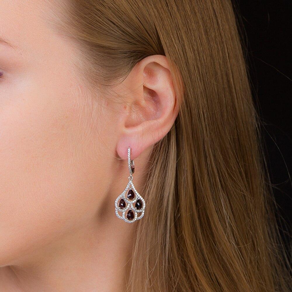 GEM'S BALLET noir grenat naturel pierres précieuses boucles d'oreilles véritable 925 en argent sterling bijoux fins pour les femmes nouveaux arrivants-in Boucles d'oreilles from Bijoux et Accessoires    2