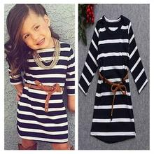 Hot Sale New Autumn Children Straight Dress Baby Girls Dresses Kids Striped Knee-Length Long-Sleeved Princess Casual Dress Party