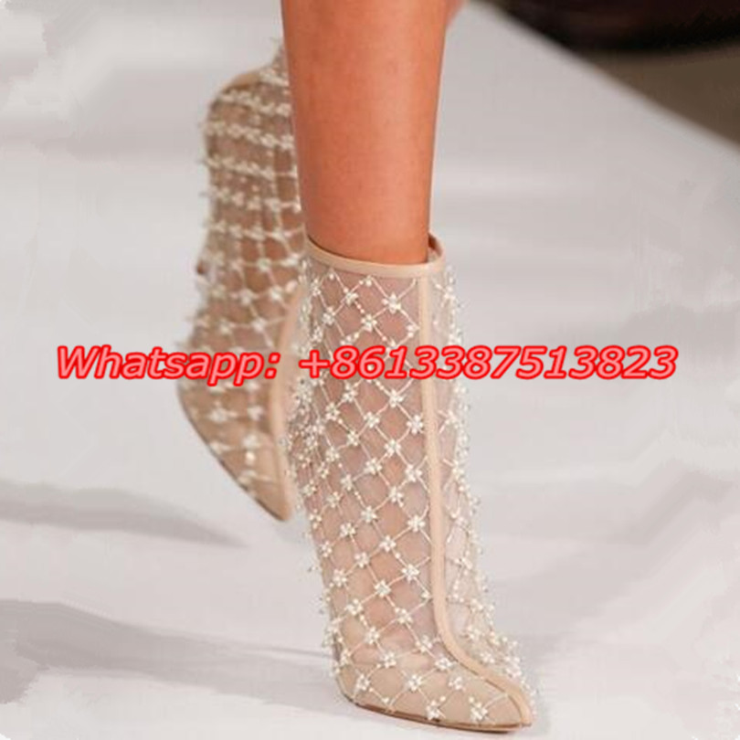 Floral Beading Embellished Breathable Lace Ankle Boots Pointed Toe Back Zip Stiletto High Heels Summer Ladies Shoes Botas Mujer
